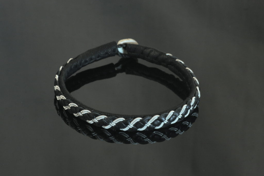Four Braid Leather Strip Bracelet